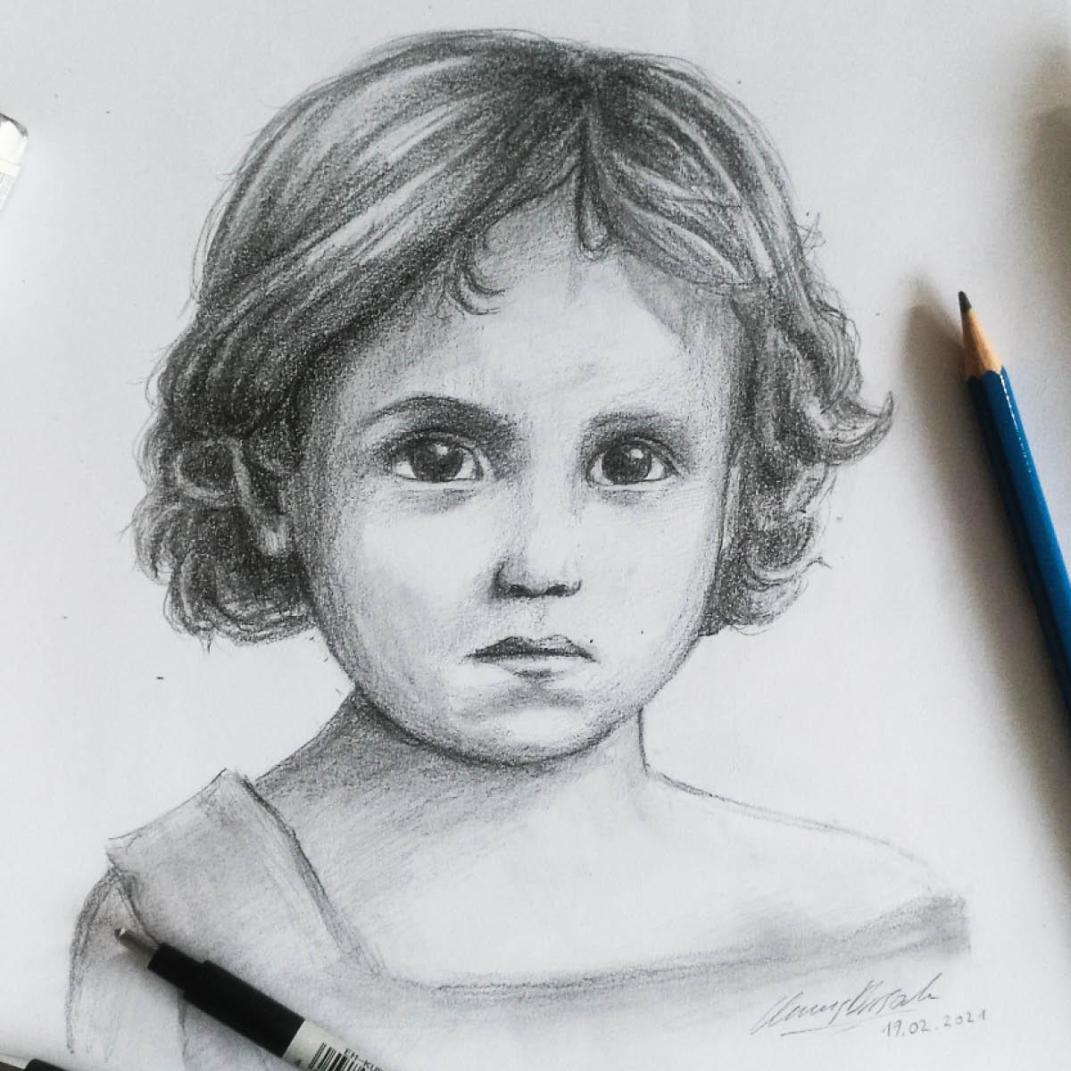Titelbild Porträtzeichnung Uroma als Kind